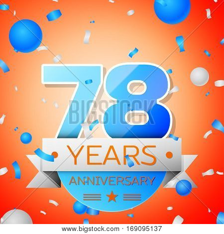 Seventy eight years anniversary celebration on orange background. Anniversary ribbon
