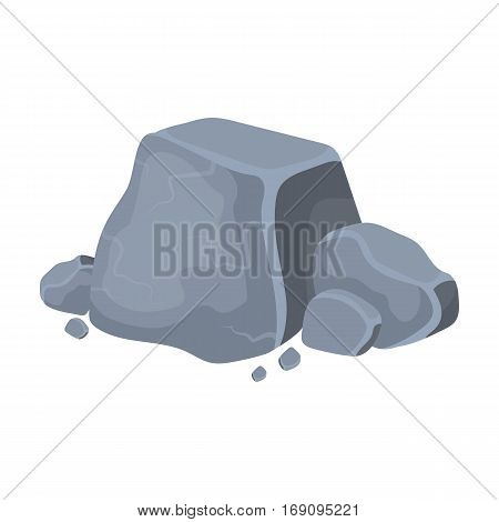 Metal ore icon in cartoon design isolated on white background. Precious minerals and jeweler symbol stock vector illustration.