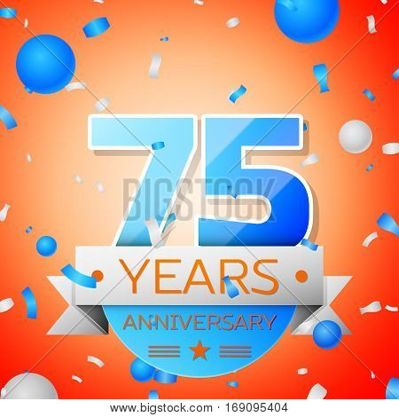 Seventy five years anniversary celebration on orange background. Anniversary ribbon