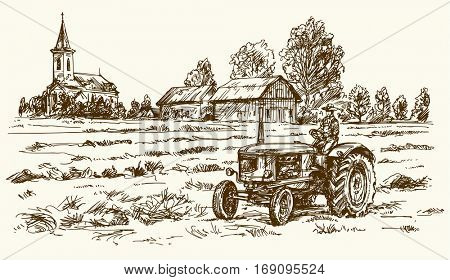 Tractor collecting haystack in the field. Hand drawn vector illustration.