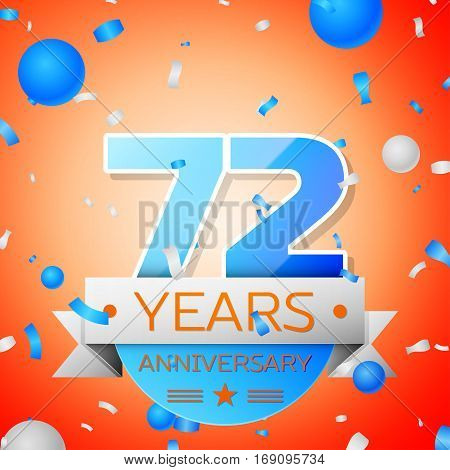 Seventy two years anniversary celebration on orange background. Anniversary ribbon