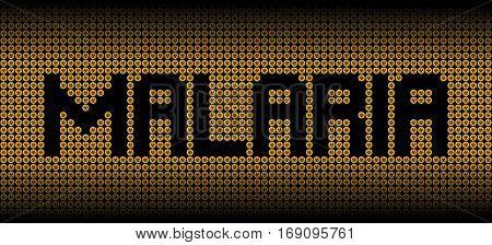 Malaria text on biohazard warning symbols illustration