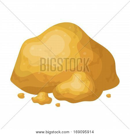Golden ore icon in cartoon design isolated on white background. Precious minerals and jeweler symbol stock vector illustration.