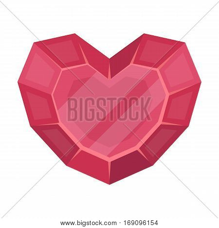 Heart-shaped gemstone icon in cartoon design isolated on white background. Precious minerals and jeweler symbol stock vector illustration.