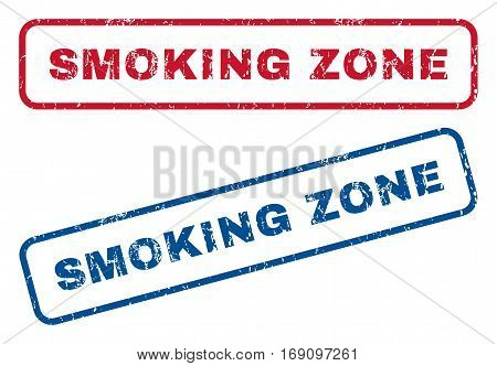 Smoking Zone text rubber seal stamp watermarks. Vector style is blue and red ink caption inside rounded rectangular shape. Grunge design and dust texture. Blue and red stickers.