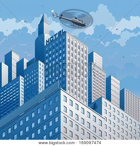 City landscape on a background of sky and clouds. Vector illustration.