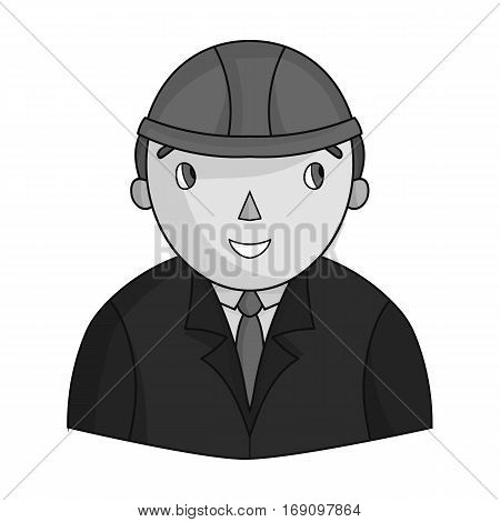 Architect icon in monochrome design isolated on white background. Architect symbol stock vector illustration.