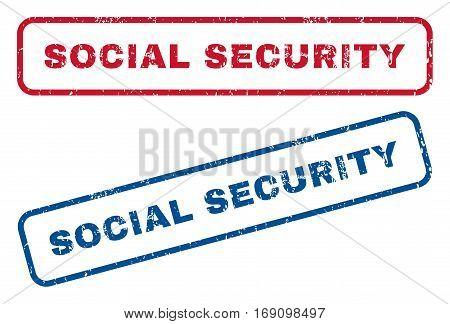 Social Security text rubber seal stamp watermarks. Vector style is blue and red ink caption inside rounded rectangular shape. Grunge design and scratched texture. Blue and red signs.