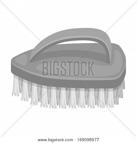 Cleaning brush icon in monochrome design isolated on white background. Cleaning symbol stock vector illustration.