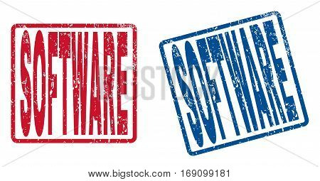 Software text rubber seal stamp watermarks. Vector style is blue and red ink tag inside rounded rectangular shape. Grunge design and dirty texture. Blue and red stickers.
