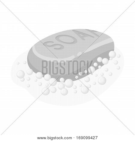 Soap icon in monochrome design isolated on white background. Cleaning symbol stock vector illustration.