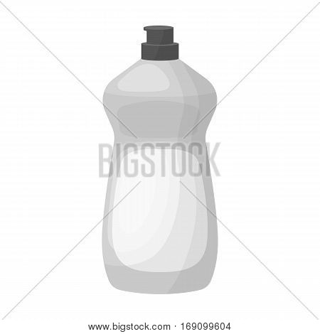 Dishwashing soap icon in monochrome design isolated on white background. Cleaning symbol stock vector illustration.