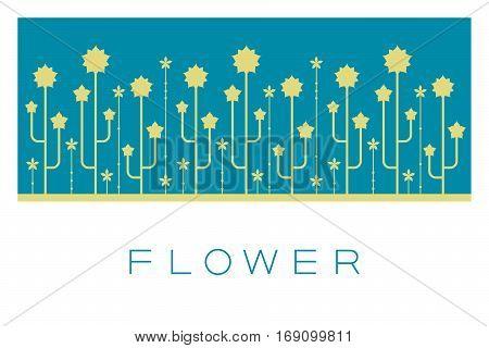 Vector Minimal Poster: Flower Retro Illustration Background