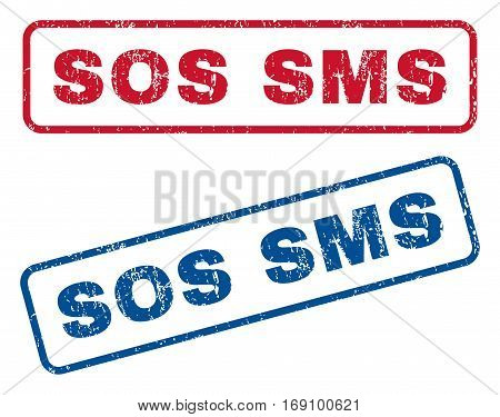 Sos SMS text rubber seal stamp watermarks. Vector style is blue and red ink tag inside rounded rectangular shape. Grunge design and dirty texture. Blue and red stickers.