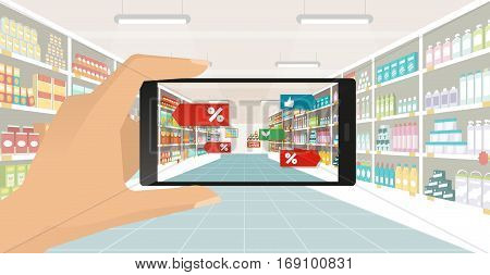 Man doing grocery shopping at the supermarket he is viewing offers and augmented reality contents on his smartphone store aisle and shelves on the background subjective point of view poster