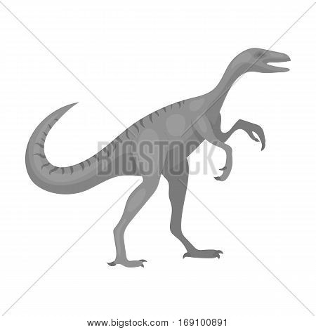 Dinosaur Gallimimus icon in monochrome design isolated on white background. Dinosaurs and prehistoric symbol stock vector illustration
