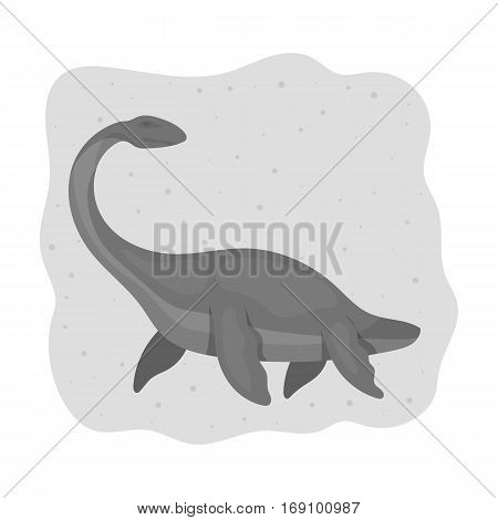Sea dinosaur icon in monochrome design isolated on white background. Dinosaurs and prehistoric symbol stock vector illustration.