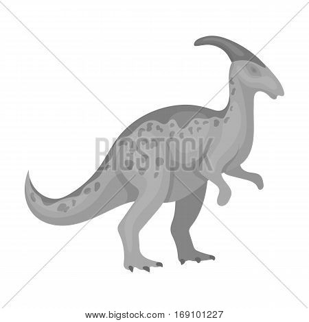 Dinosaur Parasaurolophus icon in monochrome design isolated on white background. Dinosaurs and prehistoric symbol stock vector illustration.