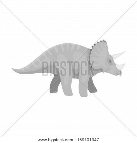 Dinosaur Triceratops icon in monochrome design isolated on white background. Dinosaurs and prehistoric symbol stock vector illustration.