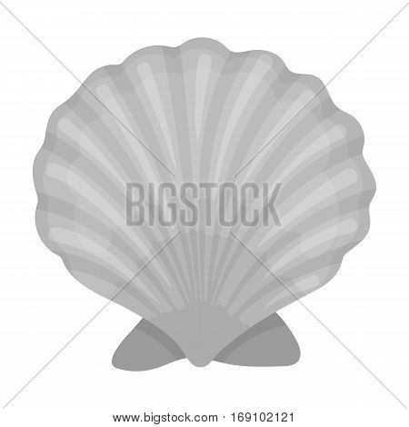 Prehistoric seashell icon in monochrome design isolated on white background. Dinosaurs and prehistoric symbol stock vector illustration.