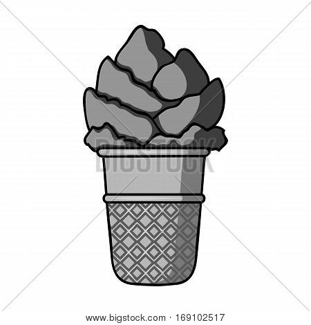 Ice cream in waffle cup icon in monochrome design isolated on white background. Ice cream symbol stock vector illustration.