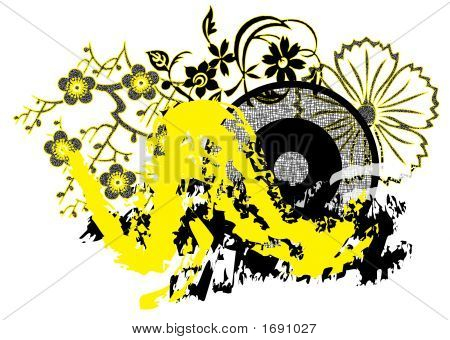 Streaky Yellow And Black Grunge Design Element