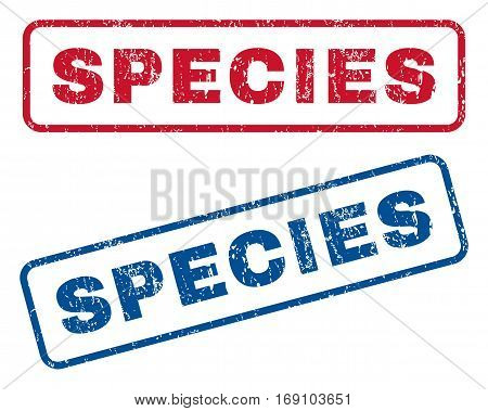 Species text rubber seal stamp watermarks. Vector style is blue and red ink caption inside rounded rectangular banner. Grunge design and scratched texture. Blue and red stickers.