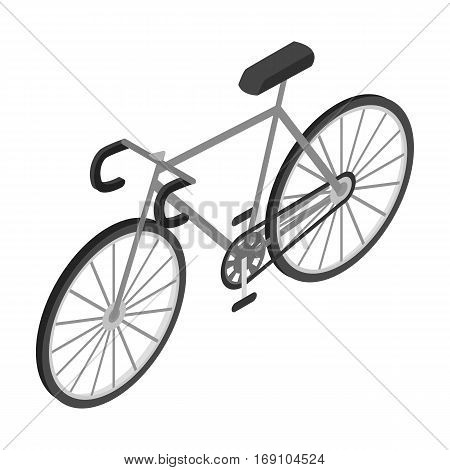 Bicycle icon in monochrome design isolated on white background. Transportation symbol stock vector illustration.