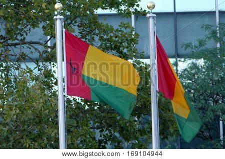 New York, United States. September 22Nd 2016 - International Flags In The Front Of United Nations He