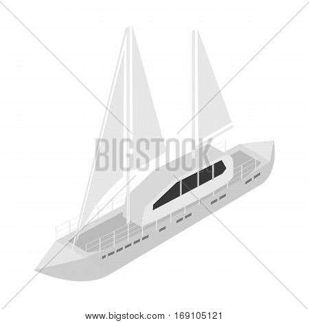 Yacht icon in monochrome design isolated on white background. Transportation symbol stock vector illustration.