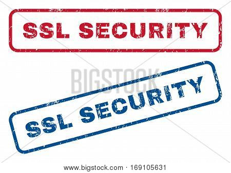 SSL Security text rubber seal stamp watermarks. Vector style is blue and red ink caption inside rounded rectangular shape. Grunge design and dust texture. Blue and red emblems.