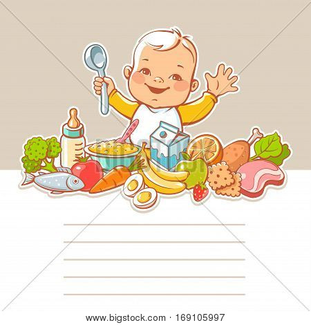 Happy smiling little boy sitting at table with food. Vector vegetables, fruits, meat, milk, bottle, dish. Blank text frame. Template for menu design. Kids nutrition infographic.