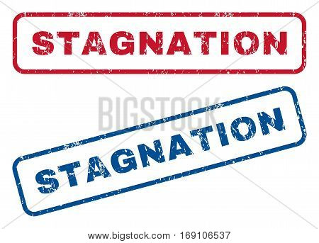 Stagnation text rubber seal stamp watermarks. Vector style is blue and red ink tag inside rounded rectangular shape. Grunge design and dust texture. Blue and red signs.