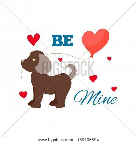 Happy smiling dog in love vector character holding ballon. Romantic animal be mine relationship. Attractive lifestyle beautiful happiness cat and dog illustration.