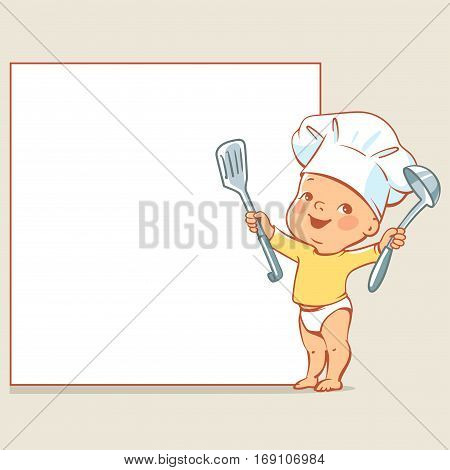 Cute little baby in diaper and chef's hat. Happy boy as cook holding spoon pointing at blank text frame. Vector baby design template isolated