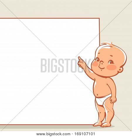 Cute little baby in diaper near blank banner. Happy boy pointing at text frame. infographic template. Vector baby design  isolated.
