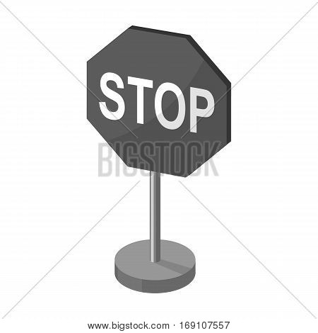 Stop road sign icon in monochrome design isolated on white background. Road signs symbol stock vector illustration.