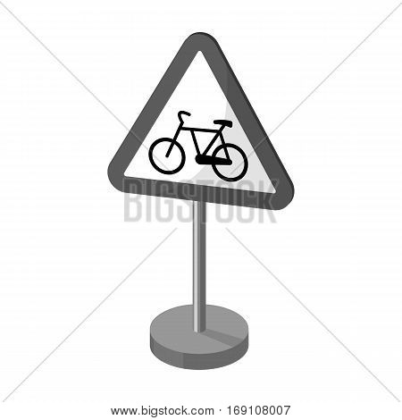 Warning road sign icon in monochrome design isolated on white background. Road signs symbol stock vector illustration.