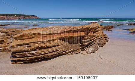 Beautiful Eroded Orange Rocks At Stokes Bay, Kangaroo Island, Australia.