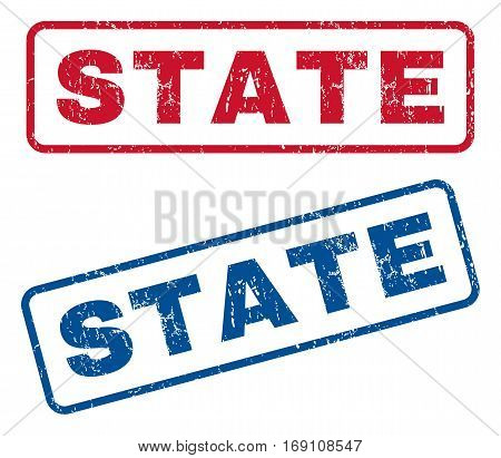 State text rubber seal stamp watermarks. Vector style is blue and red ink tag inside rounded rectangular banner. Grunge design and scratched texture. Blue and red stickers.