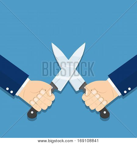 Business war, struggle, competition concept. Solution of conflict fight with knives. Man holding a knife in his hand. vector illustration in flat style.