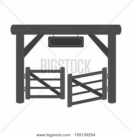 Paddock gate icon in monochrome design isolated on white background. Rodeo symbol stock vector illustration.