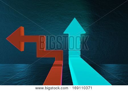 Road arrows at crossroads in difficult choice concept - 3d rende