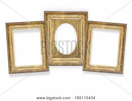 set of three gilded frames isolated on white background