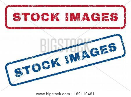 Stock Images text rubber seal stamp watermarks. Vector style is blue and red ink tag inside rounded rectangular banner. Grunge design and dust texture. Blue and red emblems.