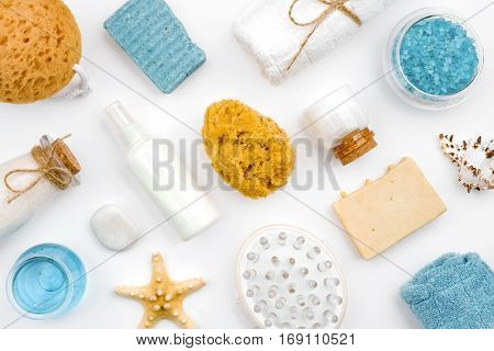 Various spa wellness products and objects isolated on white background