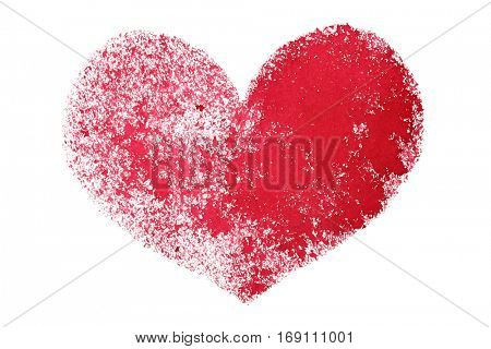 Red grunge stenciled heart isolated on the white background