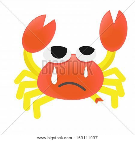 Vector Design Cartoon orange Crab Cry leg broken