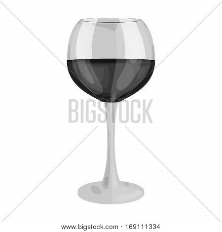 Glass of red wine icon in monochrome design isolated on white background. Wine production symbol stock vector illustration.