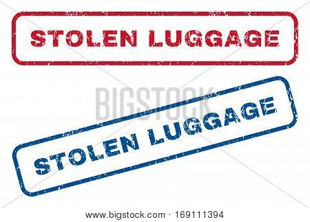 Stolen Luggage text rubber seal stamp watermarks. Vector style is blue and red ink tag inside rounded rectangular banner. Grunge design and unclean texture. Blue and red stickers.